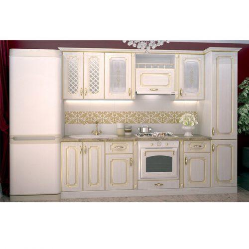 Кухня «Белый ПВХ патина золото 2500» (Ревда-мебель)