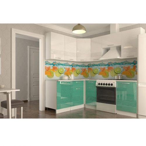 Кухня «Волна белый металлик бирюза Угол + 2100 мм» (Ревда-мебель)