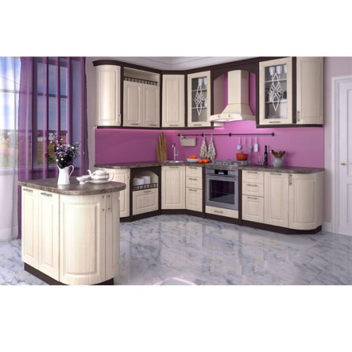 Кухня «Грецкий орех шоколад шагрень 1800Х2900» (Ревда-мебель)