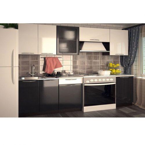 Кухня «Белый глянец черный глянец 2000» (Ревда-мебель)