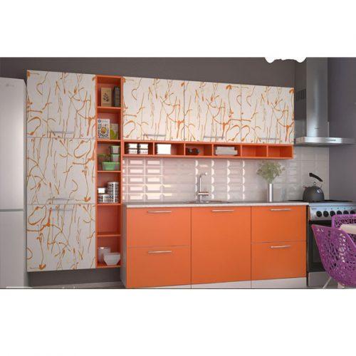 Кухня «Шафран шагрень арт с полками» (Ревда-мебель)